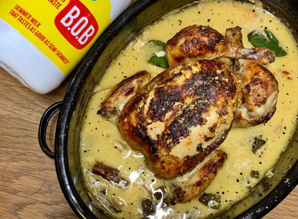 Whole Chicken poached in Arla B.O.B skimmed milk