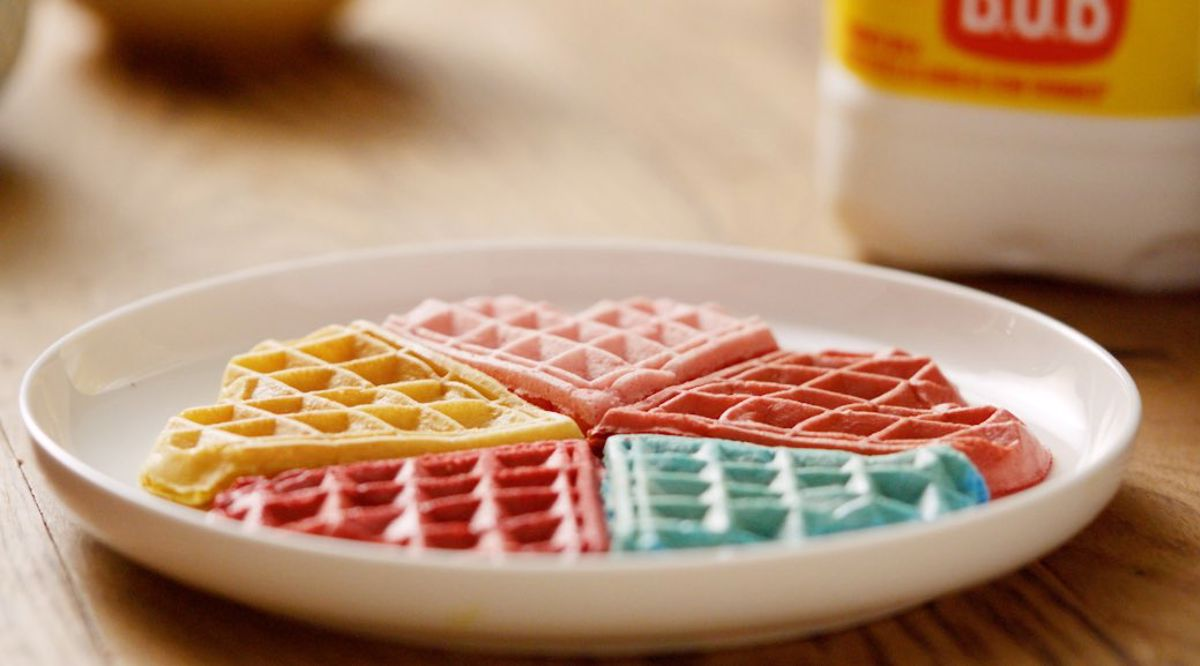 Rainbow waffles on a plate