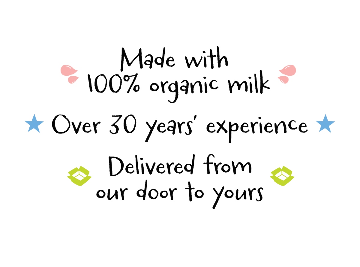text: Made with 100% organic milk, Over 30 years' experience, Delivered from our door to yours