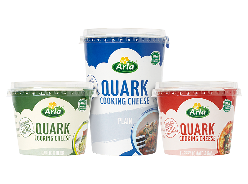 Arla Quark range of Garlic & Herb, Plain, and Cherry Tomato & Basil