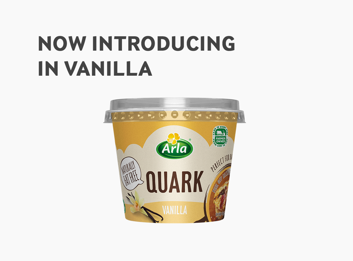A pot of Arla Quark Vanilla below the text 'Now Introducing Vanilla'