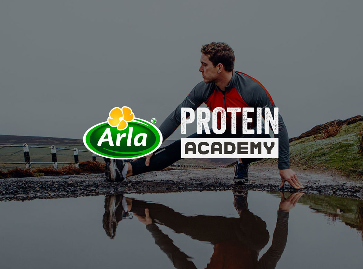 Arla Protein Academy logo over a runner stretching