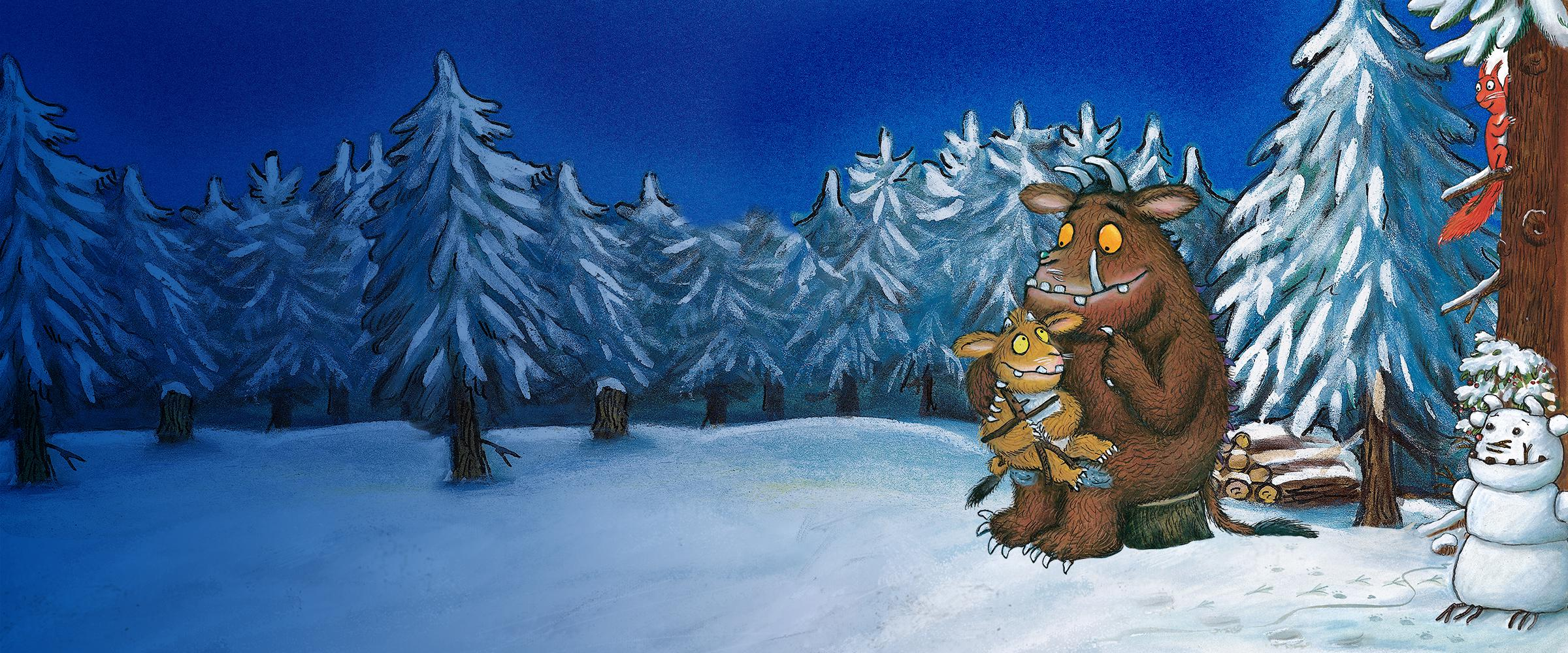 The Gruffalo and child sat in a winter forest illustration