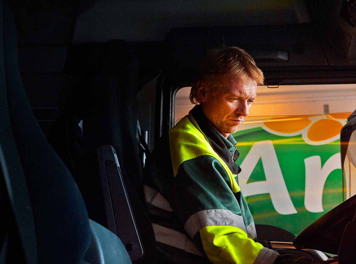 Arla truck driver in his cab