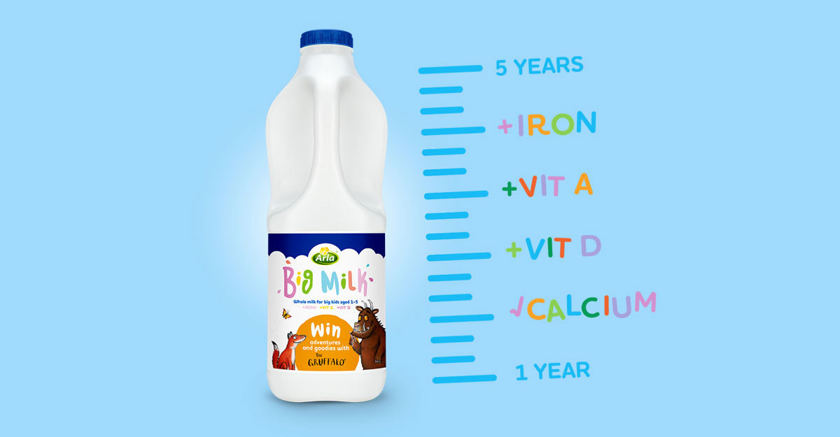 Bottle of Arla Big Milk. Iron, Vit A, Vit D, Calcium. 1-5 years